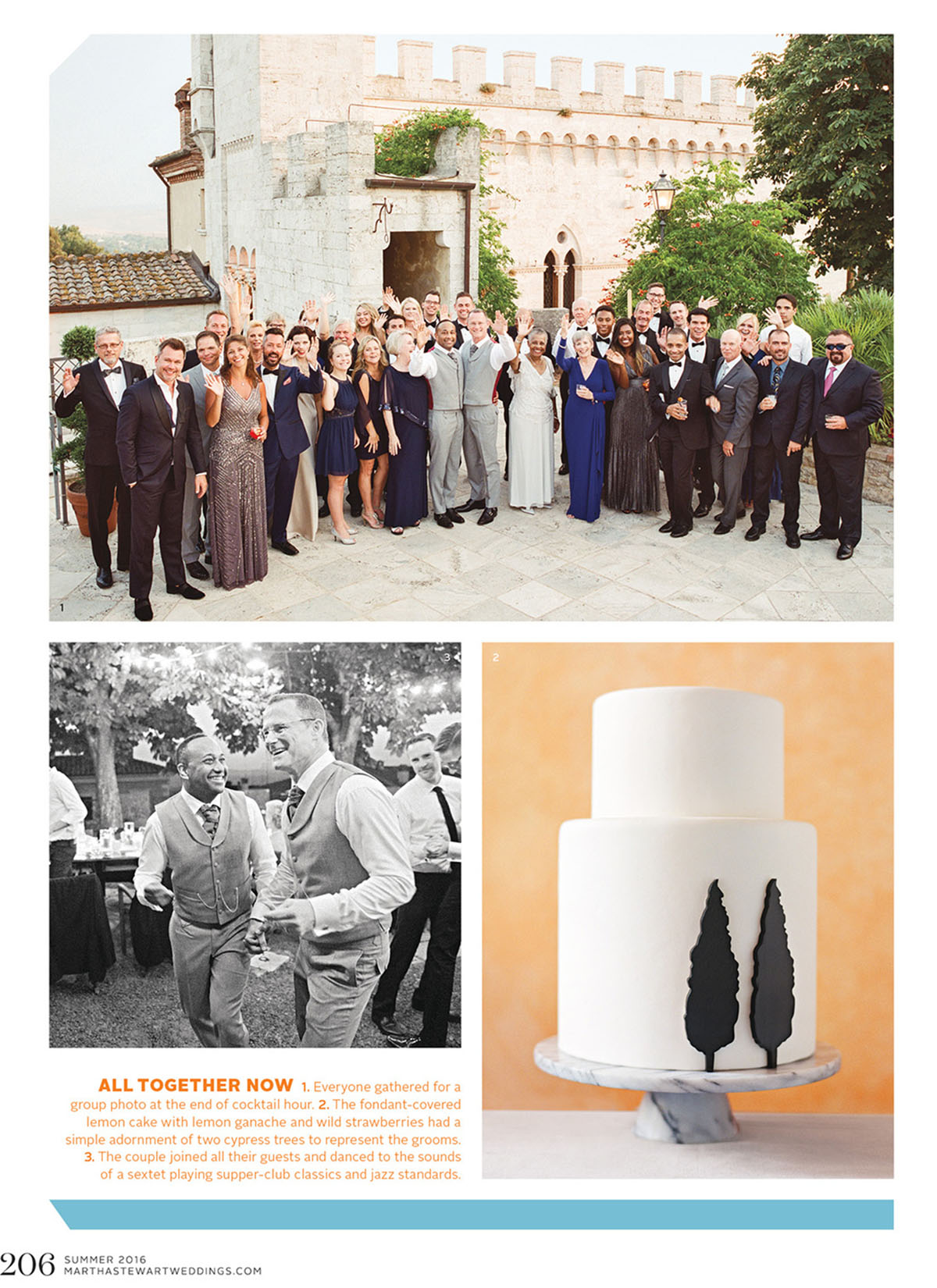 gay wedding Tuscany cake and party