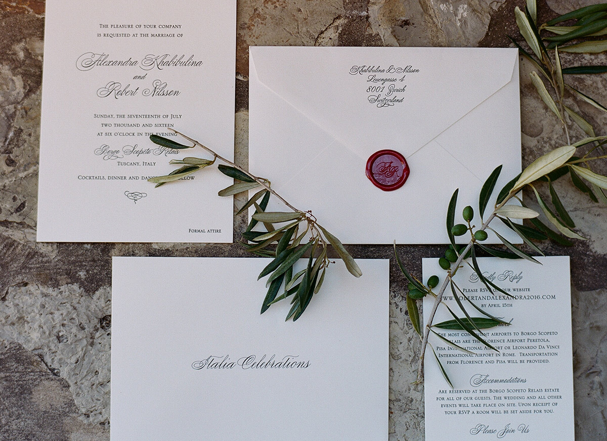Tuscany wedding wax seal invitations